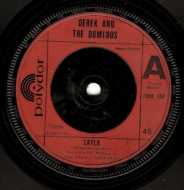 DEREK AND THE DOMINOS Layla Vinyl Record 7 Inch Polydor 1972